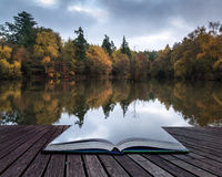 Book concept Beautiful vibrant Autumn woodland reflecions in cal. Book concept Stunning vibrant Autumn woodland reflected in still lake water landscape Stock Photo