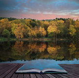 Book concept Beautiful vibrant Autumn woodland reflecions in cal Stock Image