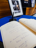The book of condoleances for Helmut Kohl at European Parliament Stock Image