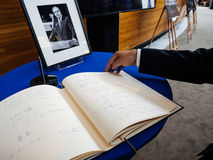 The book of condoleances for Helmut Kohl at European Parliament Stock Images