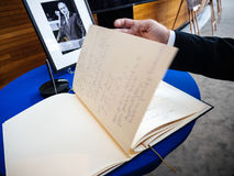 The book of condoleances for Helmut Kohl at European Parliament Royalty Free Stock Photos