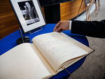 The book of condoleances for Helmut Kohl at European Parliament. STRASBOURG, FRANCE - JUL 1, 2017: The messages in diverse languages of high ranked officials on royalty free stock photo