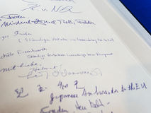 The book of condoleances for Helmut Kohl at European Parliament. STRASBOURG, FRANCE - JUL 1, 2017: The messages in diverse languages of high ranked officials on stock image