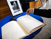 The book of condoleances for Helmut Kohl at European Parliament. STRASBOURG, FRANCE - JUL 1, 2017: The messages in diverse languages of high ranked officials on stock images
