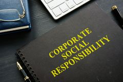 Book about Corporate social responsibility. royalty free stock image
