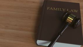 Court gavel on FAMILY LAW book. Conceptual animation