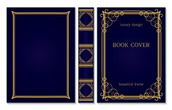 Book Cover And Spine Ornament. Vintage Old Frames. Royal Golden And Dark Blue Style Design. Border To Be Printed On The Covers Of Royalty Free Stock Image