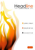 Book cover design with fire flames. Vector. Book cover design template in A4 with flames of fire. Good for journals, conference, banner, flyer, book, booklet Stock Images