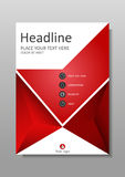 Book Cover design in red. Academic journals. Vector. Book Cover design in red. A4 design. Annual report with geometrical figures.  Good for academic Stock Images