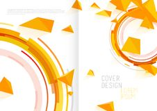 Book cover design template with abstract polygonal objects. Vector art Stock Photos