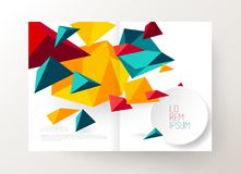 Book cover design template with abstract polygonal objects. Vector art royalty free illustration