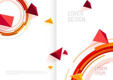 Book cover design template with abstract polygonal objects. Vector art Royalty Free Stock Photo
