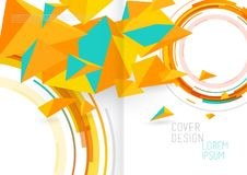 Book cover design template with abstract polygonal objects. Vector art Royalty Free Stock Images