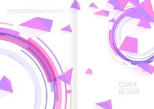 Book cover design template with abstract polygonal objects. Vector art Stock Photo