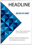 Book cover presentation. Blue color triangle book cover presentation abstract geometric white background  report brochure flyer design template vector layout in Stock Image