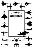 Book cover with silhouettes of different types of military aircraft on white background. Size A4. Vector image Stock Image