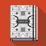 Book cover template. Book cover design template. Notebook mockup. Geometric futuristic elements Stock Images