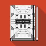 Book cover template. Book cover design template. Notebook mockup. Geometric futuristic elements Stock Image