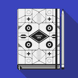 Book cover template. Book cover design template. Notebook mockup. Geometric futuristic elements Royalty Free Stock Photo
