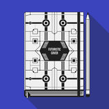 Book cover template. Book cover design template. Notebook mockup. Geometric futuristic elements Royalty Free Stock Images