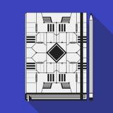Book cover template. Book cover design template. Notebook mockup. Geometric futuristic elements Stock Photo