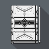 Book cover template. Book cover design template. Notebook mockup. Geometric futuristic elements Stock Photography