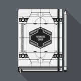 Book cover template. Book cover design template. Notebook mockup. Geometric futuristic elements Royalty Free Stock Photography