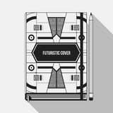 Book cover template. Book cover design template. Notebook mockup. Geometric futuristic elements Stock Photos