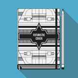 Book cover template. Book cover design template. Notebook mockup. Geometric futuristic elements Royalty Free Stock Image