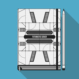 Book cover template. Book cover design template. Notebook mockup. Geometric futuristic elements Royalty Free Stock Photos