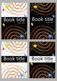 Book cover template in different color variants. Abstract colorful curves on white or black background  Stock Photo