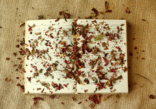 Book Covered with Autumn Leaves on Burlap Royalty Free Stock Photo