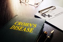 Book about Crohn`s disease or inflammatory bowel disease. Book about Crohn`s disease as type of inflammatory bowel disease IBD Stock Photography