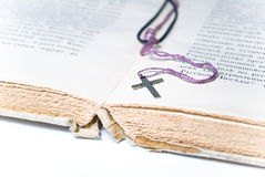 Book and cross. Religion concept.Book and cross Stock Image