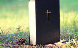 Book with cross in nature Royalty Free Stock Photography