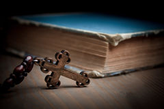 Book and cross Stock Photo