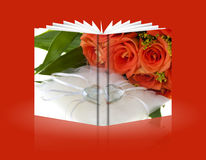 Book of crystal heart and orange rose 01 Stock Photos