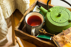 Book, cup of hot red fruit tea, green pot in tray, knitted sweater hanging on wooden chair, dry twig, cozy autumn, fall atmosphere Stock Photos