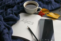 A book with a Cup of tea and a mobile phone surrounded by autumn leaves on a grey background royalty free stock images