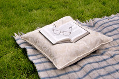 Book cushion blanket outside Royalty Free Stock Photos