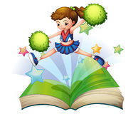 A book with a cute cheerdancer jumping. Illustration of a book with a cute cheerdancer jumping on a white background Stock Image