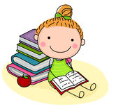 book cute girl reading Στοκ Φωτογραφία