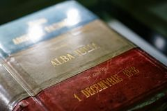 Book of Declaration of Independence, Romania. Book of Declaration of Independence, 1 December 1918, Alba Iulia, Romania Royalty Free Stock Photo