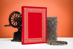 Book and decor in vintage style Royalty Free Stock Photo
