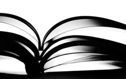 book den öppnade silhouetten Arkivfoto