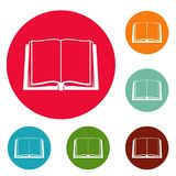 Book deployed icons circle set vector. Isolated on white background Stock Images