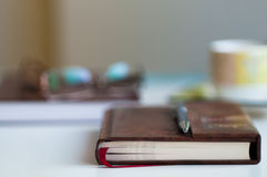 Book on Desk Blurred Background Royalty Free Stock Photo