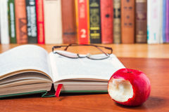 Book on the desk in the library Royalty Free Stock Image