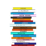 Book Destinations Tower. Tower of books with famous city name travel destinations Royalty Free Stock Photo