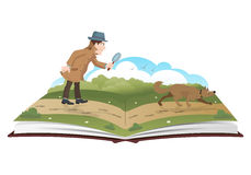 Book about detective with magnifying glass and tracker dog Stock Photography